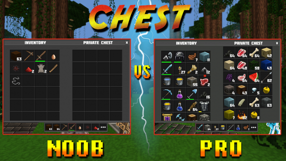 planet of cubes, noob, pro, survival, craft, chest
